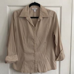 Dress Barn tan button up blouse
